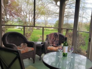 Enjoy the views from the porch of Rosebud Cottage with your favorite glass of wine.