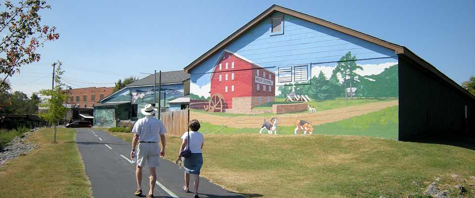 Walking by the Mural on the Hawksbille Greenway in Luray VA