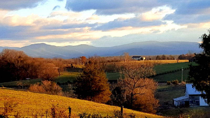Views from the grounds of Piney Hill Bed & Breakfast and Cottages in Luray, VA of the Shenandoah Valley.